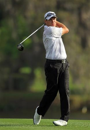 ORLANDO, FL - MARCH 24:  Brian Davis of England plays his tee shot at the par 5, 16th hole during the first round of the 2011 Arnold Palmer Invitational presented by Mastercard at the Bay Hill Lodge and Country Club on March 24, 2011 in Orlando, Florida.  (Photo by David Cannon/Getty Images)