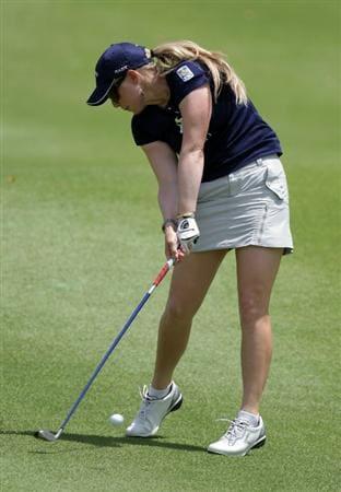 SINGAPORE - FEBRUARY 26:  Morgan Pressel of the USA during the third round of the HSBC Women's Champions at Tanah Merah Country Club  on February 26, 2011 in Singapore, Singapore.  (Photo by Ross Kinnaird/Getty Images)