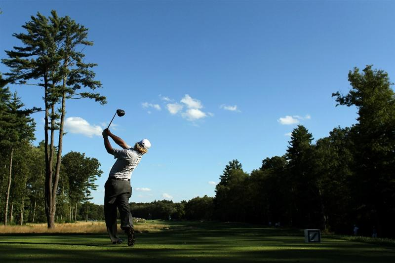 NORTON, MA - SEPTEMBER 04:  Charley Hoffman hits a tee shot on the sixth tee during the second round of the Deutsche Bank Championship at TPC Boston on September 4, 2010 in Norton, Massachusetts.  (Photo by Mike Ehrmann/Getty Images)