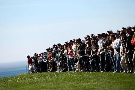 PEBBLE BEACH, CA - FEBRUARY 9: Fans look on during the third round of the AT&T Pebble Beach National Pro-Am at Pebble Beach Golf Links February 9, 2008 in Pebble Beach, California.  (Photo by Jed Jacobsohn/Getty Images)