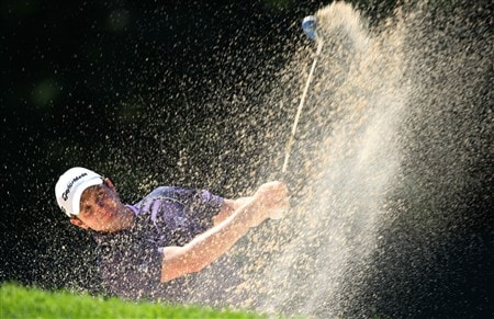BLOOMFIELD HILLS, MI - AUGUST 08:  Justin Rose of England plays from a bunker on the 18th hole during round two of the 90th PGA Championship at Oakland Hills Country Club on August 8, 2008 in Bloomfield Township, Michigan.  (Photo by Stuart Franklin/Getty Images)