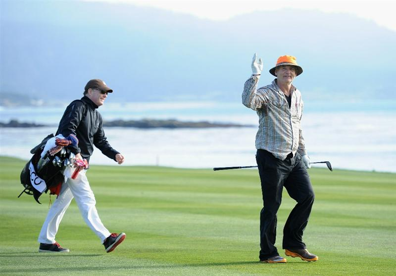 PEBBLE BEACH, CA - FEBRUARY 13:  Actor Bill Murray waves to fans on the 18th hole during the final round of the AT&T Pebble Beach National Pro-Am at Pebble Beach Golf Links on February 13, 2011  in Pebble Beach, California.  (Photo by Stuart Franklin/Getty Images)