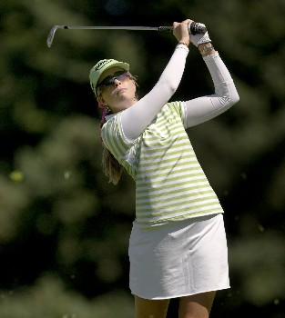 PORTLAND, OR - AUGUST 22: Paula Creamer hits her second shot at the 11th hole, during the first round of LPGA Safeway Classic at the Columbia Edgewater Country Club on August 22, 2008 in Portland, Oregon. (Photo by Steven Gibbons/Getty Images)