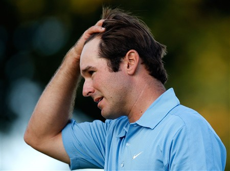 BLOOMFIELD HILLS, MI - AUGUST 07:  Trevor Immelman of South Africa reacts at the end of his round one on the 18th hole during the 90th PGA Championship at Oakland Hills Country Club on August 7, 2008 in Bloomfield Township, Michigan.  (Photo by Gregory Shamus/Getty Images)