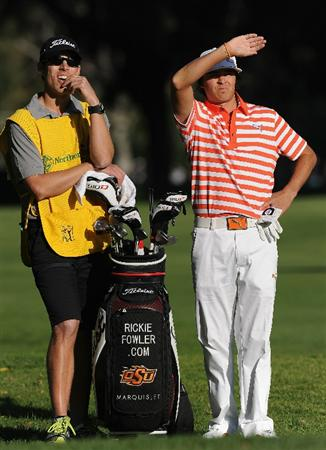 PACIFIC PALISADES, CA - FEBRUARY 17:  Rickie Fowler waits on the second hole during the first round of the Northern Trust Open at Riviera Country Club on February 17, 2011 in Pacific Palisades, California.  (Photo by Stuart Franklin/Getty Images)