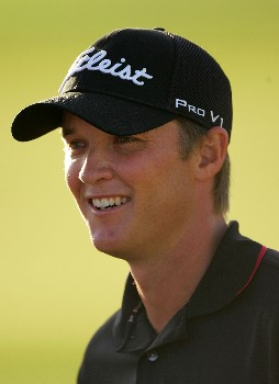 PALM BEACH GARDENS, FL - MARCH 02:  Matt Jones of Australia smiles as he plays the 17th hole during the final round of the Honda Classic at PGA National Resort and Spa on March 2, 2008 in Palm Beach Gardens, Florida.  (Photo by Sam Greenwood/Getty Images)