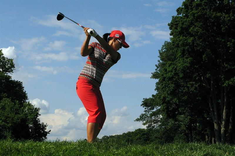 BETHLEHEM, PA - JULY 09:  Azahara Munoz of Spain tees off on the 5th hole during the first round of the 2009 U.S. Women's Open at Saucon Valley Country Club on July 9, 2009 in Bethlehem, Pennsylvania.  (Photo by Chris Graythen/Getty Images)