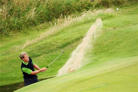 SOUTHPORT, UNITED KINGDOM - JULY 15:  Stuart Appleby of Australia plays a bunker shot during the second practice round of the 137th Open Championship on July 15, 2008 at Royal Birkdale Golf Club, Southport, England. (Photo by Stuart Franklin/Getty Images)