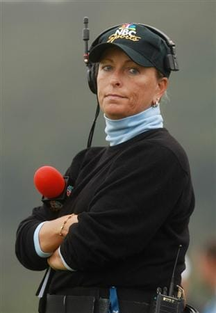 NEWPORT, WALES - OCTOBER 02:  Dottie Pepper commentates for NBC during the rescheduled Afternoon Foursome Matches during the 2010 Ryder Cup at the Celtic Manor Resort on October 2, 2010 in Newport, Wales. (Photo by Andrew Redington/Getty Images)