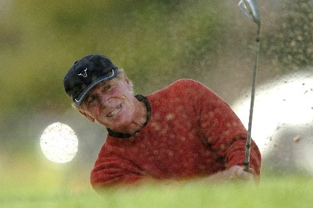 Graham Marsh hits out of a bunker on the 18th hole during the second round of the Champions' Tour 2005 Toshiba Senior Classic at  the Newport Beach Country Club in Newport Beach, California March 19, 2005.