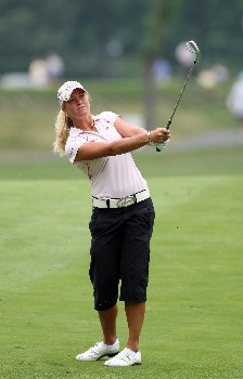 HAVRE DE GRACE, MD - JUNE 10:  Suzann Pettersen of Norway hits her second shot at the par 4, 1st hole during the final round of the 2007 McDonald's LPGA Championship on June 10, 2007 at Bulle Rock Golf Course in Havre de Grace, Maryland.  (Photo by David Cannon/Getty Images)