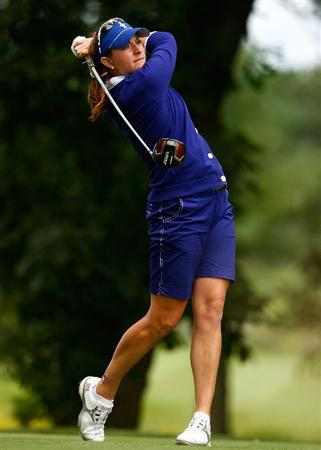 SUGAR GROVE, IL - AUGUST 21:  Brittany Lang of the U.S. Team hits her tee shot on the 14th hole during the friday morning fourball matches at the 2009 Solheim Cup at Rich Harvest Farms on August 21, 2009 in Sugar Grove, Illinois.  (Photo by Scott Halleran/Getty Images)