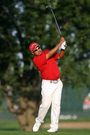 CHASKA, MN - AUGUST 13:  Prayad Marksaeng of Thailand plays his second shot on the 10th hole during the first round of the 91st PGA Championship at Hazeltine National Golf Club on August 13, 2009 in Chaska, Minnesota.  (Photo by David Cannon/Getty Images)