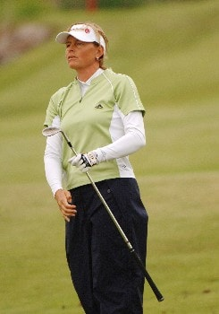 Liselotte Neumann competes  April 29 in  the rain-delayed second round of the 2005 Franklin American Mortgage Championship in Franklin, Tn.Photo by Al Messerschmidt/WireImage.com