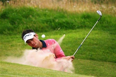 SOUTHPORT, UNITED KINGDOM - JULY 15:  Nick Dougherty of England hits out of a bunker on the 3rd hole during the second practice round of the 137th Open Championship on July 15, 2008 at Royal Birkdale Golf Club, Southport, England.  (Photo by Richard Heathcote/Getty Images)