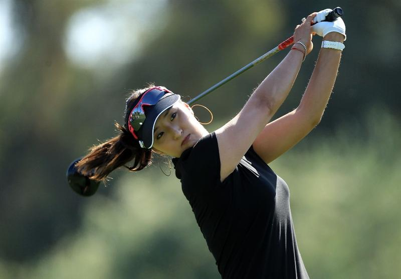 RANCHO MIRAGE, CA - APRIL 04:  Grace Park of the USA plays her tee shot on the third hole during the final round of the 2010 Kraft Nabisco Championship, on the Dinah Shore Course at The Mission Hills Country Club, on April 4, 2010 in Rancho Mirage, California.  (Photo by David Cannon/Getty Images)