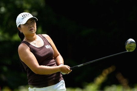 EVIAN, FRANCE - JULY 29:  Jeong Jang of South Korea watches her tee-shot on the third hole during the final round of the Evian Masters on July 29, 2007 in Evian, France.  (Photo by Andrew Redington/Getty Images)