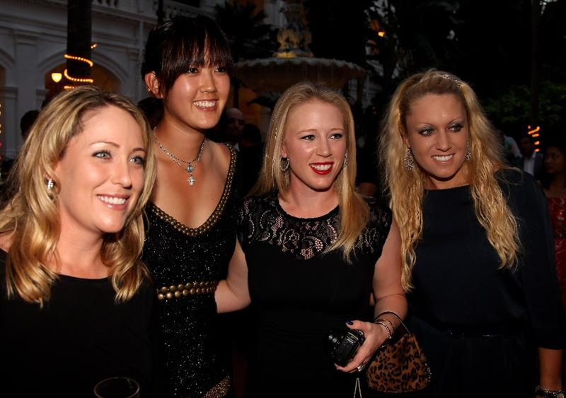 SINGAPORE - FEBRUARY 24:  Cristie Kerr, Michelle Wie ,Morgan Pressel and Natalie Gulbis of the USA pictured during the Welcome Reception prior to the start of the HSBC Women's Champions at the Tanah Merah Country Club  on February 24, 2010 in Singapore.  (Photo by Ross Kinnaird/Getty Images)
