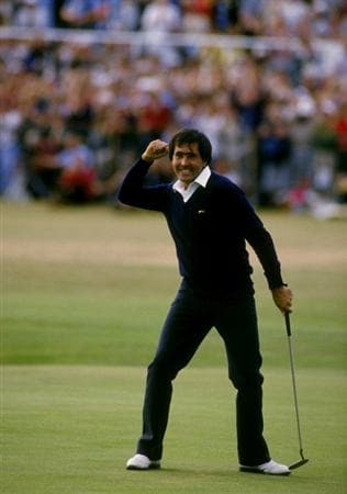 Jul 1984:  Seve Ballesteros of Spain holes out on the final green to win the British Open at St Andrews in Scotland.  \ Mandatory Credit: David Cannon /Allsport