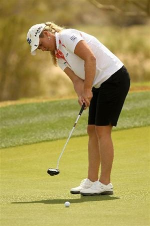 PHOENIX, AZ - MARCH 18:  Brittany Lincicome putts on the 17th hole during the first round of the RR Donnelley LPGA Founders Cup at Wildfire Golf Club on March 18, 2011 in Phoenix, Arizona.  (Photo by Stephen Dunn/Getty Images)