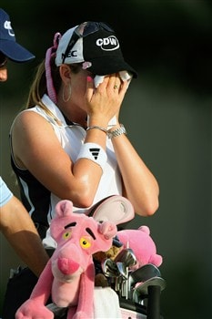 ROGERS, AR - JULY 5:  Paula Creamer attempts to cool down during the second round of the P&G Beauty NW Arkansas Championship presented by John Q. Hammons on July 5, 2008 at Pinnacle Country Club in Rogers, Arkansas. (Photo by G. Newman Lowrance/Getty Images)
