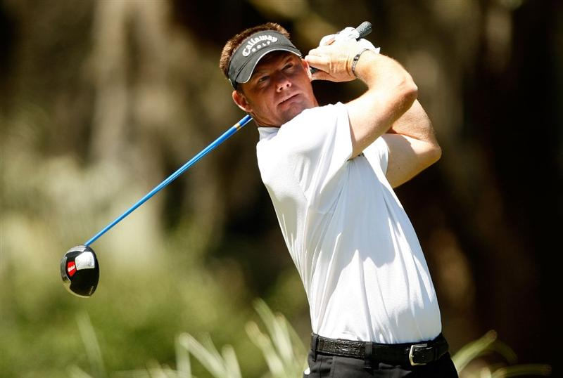 HILTON HEAD ISLAND, SC - APRIL 17:  Alex Cejka watches his tee shot on the 2nd hole during the second round of the Verizon Heritage at Harbour Town Golf Links on April 17, 2009 in Hilton Head Island, South Carolina.  (Photo by Streeter Lecka/Getty Images)