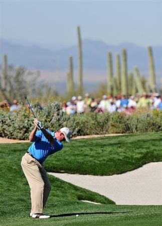 MARANA, AZ - FEBRUARY 27:  Ernie Els of South Africa plays his approach shot on the first hole during the third round of Accenture Match Play Championships at Ritz - Carlton Golf Club at Dove Mountain on February 27, 2009 in Marana, Arizona.  (Photo by Stuart Franklin/Getty Images)