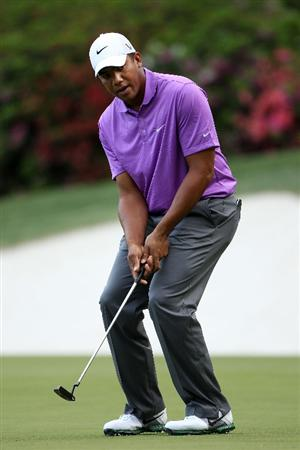 AUGUSTA, GA - APRIL 07:  Jhonattan Vegas of Venezuela reacts to missing a putt on the 13th hole during the first round of the 2011 Masters Tournament at Augusta National Golf Club on April 7, 2011 in Augusta, Georgia.  (Photo by Andrew Redington/Getty Images)