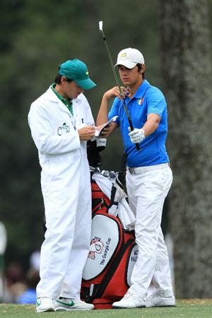 AUGUSTA, GA - APRIL 08:  Amateur Matteo Manassero of Italy (R) stands alongside caddie Alberto Binaghi on the 17th hole during the first round of the 2010 Masters Tournament at Augusta National Golf Club on April 8, 2010 in Augusta, Georgia.  (Photo by David Cannon/Getty Images)