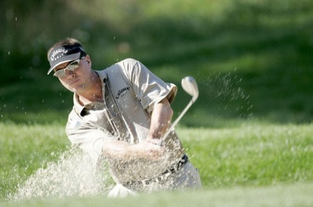 Brandt Jobe watches his bunker shot from the fifth hole during the second round of the 2005 John Deere Championship at the TPC at Deere Run in Silvis, Illinois on Friday, July 8, 2005.Photo by Sam Greenwood/WireImage.com
