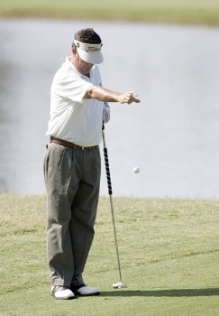 Bruce Lietzke takes a drop on the first hole during the final round of the 2005 SAS Championship Sunday, October 2, 2005, at Prestonwood Country Club in Cary, North Carolina.Photo by Grant Halverson/WireImage.com