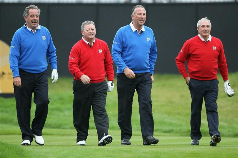 NEWPORT, WALES - SEPTEMBER 29:  (L-R) Sam Torrance, Ian Woosnam, Sir Ian Botham and Gareth Edwards walk together during a Past Captains round prior to the 2010 Ryder Cup at the Celtic Manor Resort on September 29, 2010 in Newport, Wales.  (Photo by Jamie Squire/Getty Images)