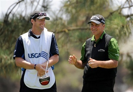 SAN DIEGO - JUNE 12:  Rocco Mediate waits with his caddie Matt Achatz on the sixth hole during the first round of the 108th U.S. Open at the Torrey Pines Golf Course (South Course) on June 12, 2008 in San Diego, California.  (Photo by Harry How/Getty Images)