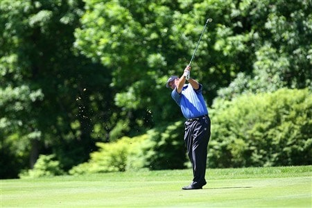 WEST DES MOINES, IA - JUNE 1:  Loren Roberts hits an approach shot during the final round of the Principal Charity Classic on June 1, 2008 at Glen Oaks Country Club in West Des Moines, Iowa. (Photo by G. Newman Lowrance/Getty Images)