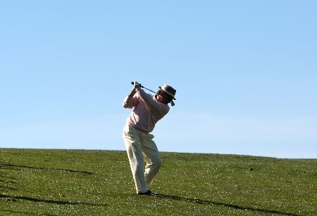 PEBBLE BEACH, CA - FEBRUARY 9: Actor Andy Garcia hits a shot during the third round of the AT&T Pebble Beach National Pro-Am at Pebble Beach Golf Links February 9, 2008 in Pebble Beach, California.  (Photo by Jed Jacobsohn/Getty Images)