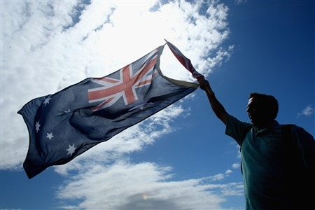 SOUTHPORT, UNITED KINGDOM - JULY 20:  A fan waves an Australia flag during the final round of the 137th Open Championship on July 20, 2008 at Royal Birkdale Golf Club, Southport, England.  (Photo by Stuart Franklin/Getty Images)