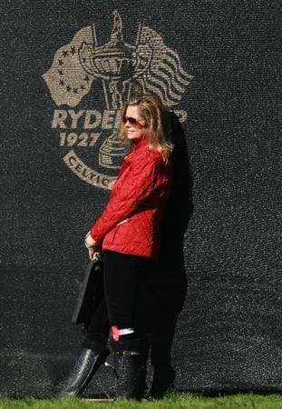 NEWPORT, WALES - OCTOBER 04: Tabitha Furyk watches her husband Jim in the singles matches during the 2010 Ryder Cup at the Celtic Manor Resort on October 4, 2010 in Newport, Wales. (Photo by Andrew Redington/Getty Images)
