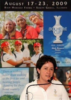 SUGAR GROVE, IL - JULY 14:  2009 Solheim Cup captain, Alison Nicholas of Team Europe, speaks during a press conference during a preview event for the 2009 Solheim Cup at Rich Harvest Farms golf course on July 14, 2008 in Sugar Grove, Illinois.  (Photo by Jonathan Ferrey/Getty Images)