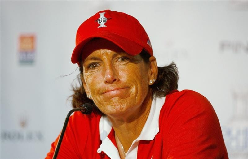 SUGAR GROVE, IL - AUGUST 18:  Juli Inkster of the U.S. Team speaks with the media prior to the start of the 2009 Solheim Cup at Rich Harvest Farms on August 18, 2009 in Sugar Grove, Illinois.  (Photo by Scott Halleran/Getty Images)
