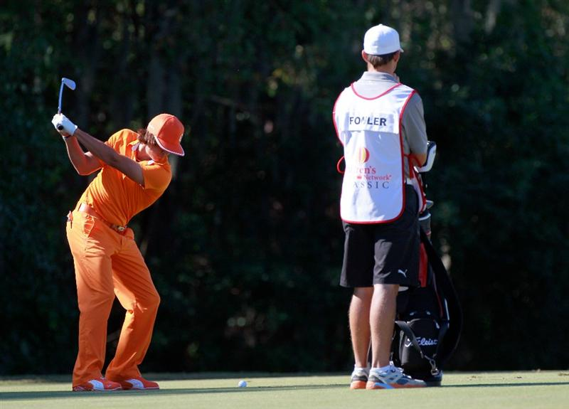 LAKE BUENA VISTA, FL - NOVEMBER 14:  Rickie Fowler plays a shot on the 1st hole during the final round of the Children's Miracle Network Classic at the Disney Magnolia course on November 14, 2010 in Lake Buena Vista, Florida.  (Photo by Sam Greenwood/Getty Images)