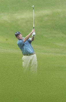 Shaun Micheel hits his approach shot to the 6th green during the first round of The Byron Nelson Championship on Thurday May 12, 2005 at the Cottonwood Vally Course, Los Colinas, TexasPhoto by Marc Feldman/WireImage.com