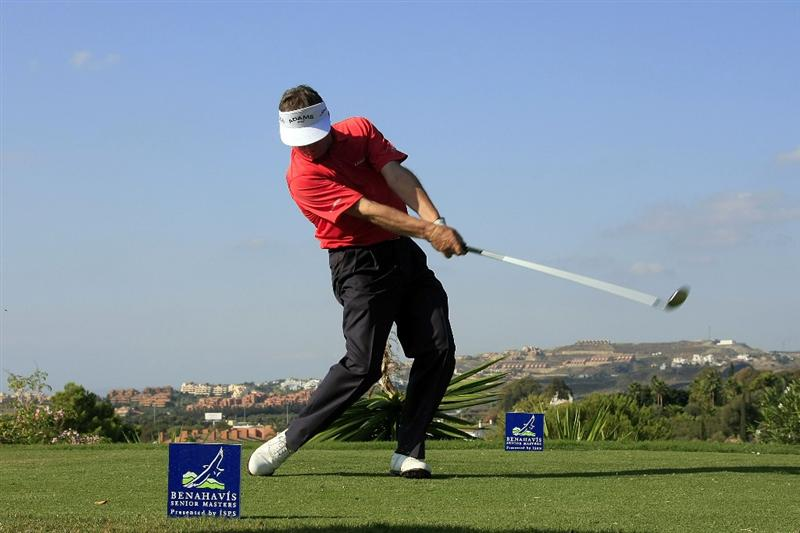 MARBELLA, SPAIN - OCTOBER 16:  Des Smyth of Ireland plays his tee shot during the first round of the Benahavis Senior Masters at La Quinta Golf & Country Club on October 16, 2009 in Marbella, Spain.  (Photo by Phil Inglis/Getty Images)
