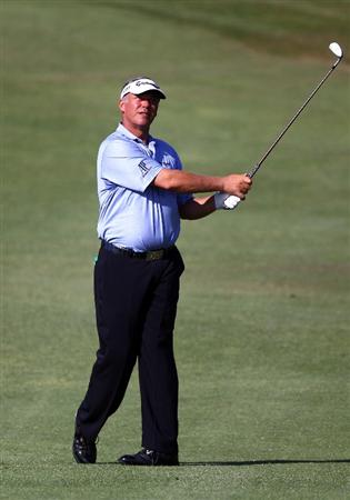 MALLORCA, SPAIN - MAY 11:  Darren Clarke of Northern Ireland hits a shot during the ProAm of the Iberdrola Open at Pula Golf Club on May 11, 2011 in Mallorca, Spain.  (Photo by Julian Finney/Getty Images)