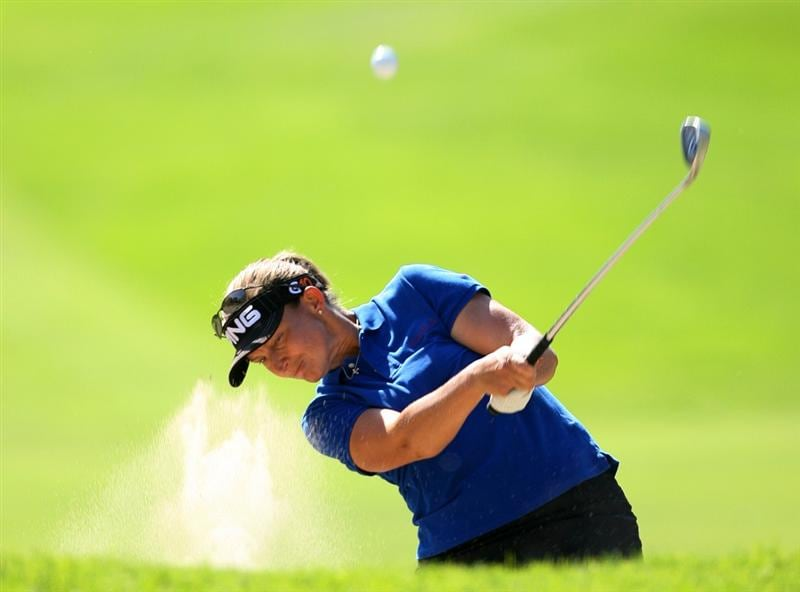 GUADALAJARA, MEXICO - NOVEMBER 16:  Angela Stanford of the United States hits her second shot on the 7th hole during the final round of the Lorena Ochoa Invitational at Guadalajara Country Club on November 16, 2008 in Guadalajara, Mexico. (Photo by Hunter Martin/Getty Images)