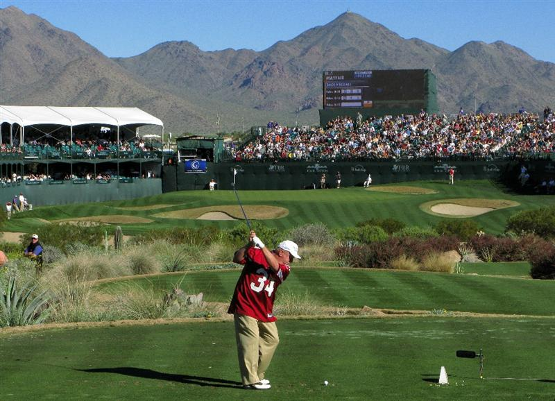 SCOTTSDALE, AZ - JANUARY 30: Billy Mayfair wears an Arizona Cardinals jersey in recognition of the upcoming Super Bowl as he tees off on the 16th during the second round of the FBR Open on January 30, 2009 at TPC Scottsdale in Scottsdale, Arizona. (Photo by Stephen Dunn/Getty Images)