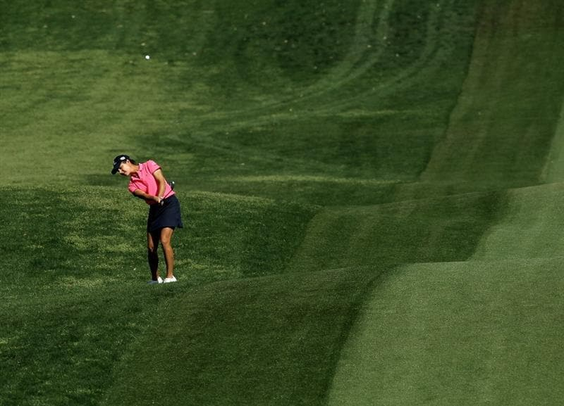 RANCHO MIRAGE, CA - APRIL 04:  Lorena Ochoa of Mexico hits from the rough on the second hole during the final round of the Kraft Nabisco Championship at Mission Hills Country Club on April 4, 2010 in Rancho Mirage, California.  (Photo by Stephen Dunn/Getty Images)
