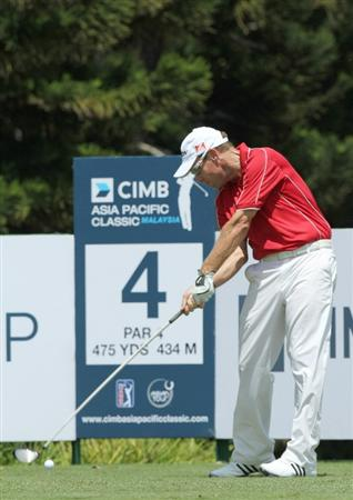 KUALA LUMPUR, MALAYSIA - OCTOBER 31: Brian Davis of England tees off on the 4th hole during day four of the CIMB Asia Pacific Classic at The MINES Resort & Golf Club on October 31, 2010 in Kuala Lumpur, Malaysia. (Photo by Stanley Chou/Getty Images)