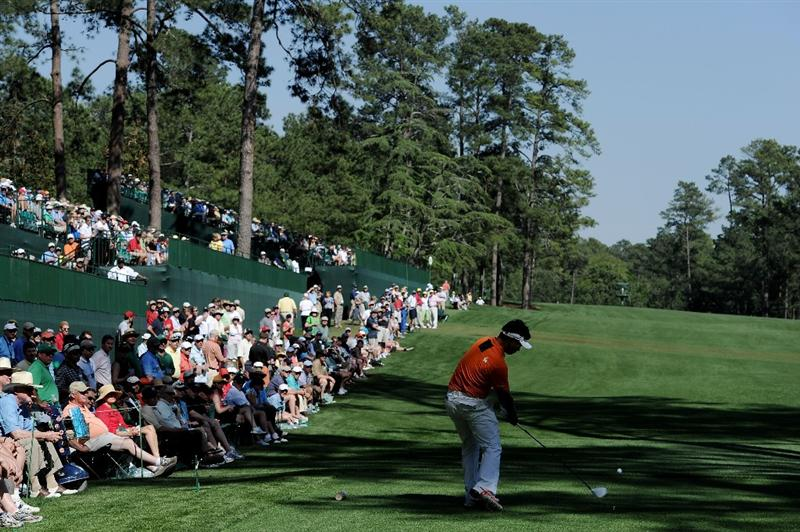 AUGUSTA, GA - APRIL 07:  Y.E. Yang of South Korea hits his tee shot on the 14th hole during the first round of the 2011 Masters Tournament at Augusta National Golf Club on April 7, 2011 in Augusta, Georgia.  (Photo by Harry How/Getty Images)