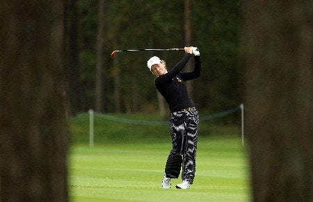 HALMSTAD, SWEDEN - SEPTEMBER 12: Catriona Matthew of Europe hits a shot during practice prior to the start of the Solheim Cup at Halmstad Golf Club on September 12, 2007 in Halmstad, Sweden. (Photo by Andy Lyons/Getty Images)
