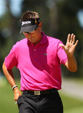 PONTE VEDRA BEACH, FL - MAY 09:  Robert Allenby of Australia celebrates chipping in for eagle on the second hole during the final round of THE PLAYERS Championship held at THE PLAYERS Stadium course at TPC Sawgrass on May 9, 2010 in Ponte Vedra Beach, Florida.  (Photo by Richard Heathcote/Getty Images)